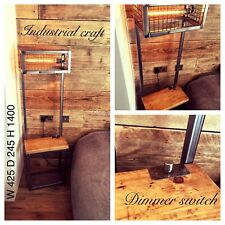 industrial handmade bedside table with lamp