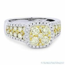 Ring in 18k White & Yellow Gold 1.71ct Round Cut Diamond Pave Right-Hand Fashion