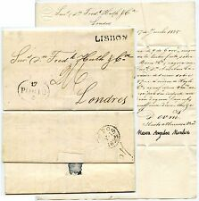 Portugal 1825 carta FPO Falmouth Paquete a Huth firmado Maria Angelica Monteiro
