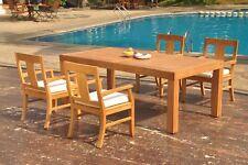 "5pc Grade-A Teak Dining Set 86"" Canberra Rectangle Table 4 Osborne Arm Chair"