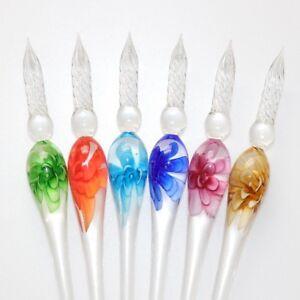 Black Gullor Glass Dip Pen Vintage Handmade Glass Signature Pen Crystal Dip Sign Pen Gift Pen