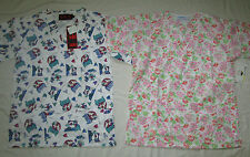 2 piece Printed V neck Scrub Tops With Bottom Pockets Size Xs