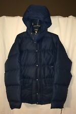 Vintage Rare The North Face Dark Blue Down Women's L Hooded Puffer, Brown Label