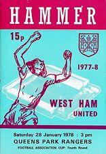 Football Programme>WEST HAM UNITED v QPR Jan 1978 FAC