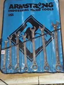 Armstrong 7 Pcs 12 Point Full Polish Ratcheting Combination Wrench Set w/Wrap