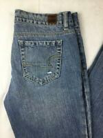Women's American Eagle Real Flare Jean's Size 4 Distressed Low-Rise Medium Wash