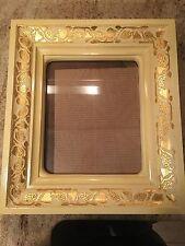 "Vintage Wood Picture Frame Ornate Deep 17"" X 15"" X 4"" Deep Ivory Gold"