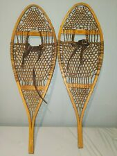 """Vintage Snowshoes 42"""" Long x 14"""" Wide Faber with Leather Bindings Ready To Use"""