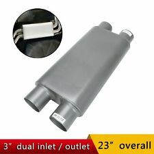 3 Inlet 3 Outlet Dual 2 Chamber Race Exhaust Muffler 17 Oval Body Length