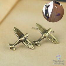 Men's Antique Bronze Gold Plane Small Lapel Badge Brooch Mens Tie Suit Pin