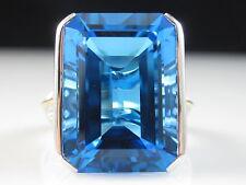 18K Blue Topaz Diamond Ring Two-Tone Emerald Cut Swiss Fine Jewelry Size 6.5