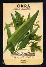 OKRA, Perkins Everitt's Antique Seed Packet, Kitchen Decor, 124