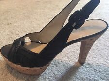 Women's Bandolino Black Wedge Stack Shoes/heels.  Size 7