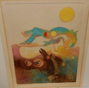 POTE SANGAWONGSE WHIMSICAL ABSTRACT HAND COLORED AND SIGNED IN PENCIL ETCHING