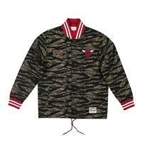 Mitchell & Ness NBA Chicago Bulls Camo Jacket Men's Black Olive Red Outwear Top