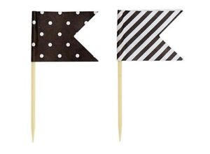 24 x Black Cup Cake Toppers - Flags - Dots & Stripes - Cake Decorations