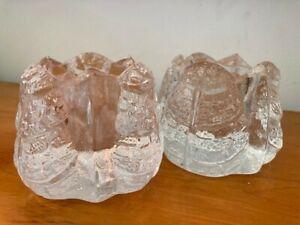 pair of Orrefors 'leaf' crystal glass votive candle holders, Swedish