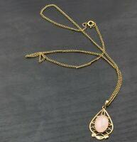 """Vintage Gold Toned Pink Quartz Cabochon Pendant Necklace 18"""" a17"""