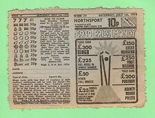 #D97.  BRITISH NORTHSPORT 1978 PRIZE TICKET - YORKSHIRE, CRICKET STUMPS