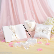 GB11 Ivory Bow Set Wedding Guest Book Ring Pillow