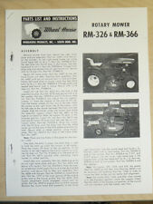1965 WHEEL HORSE TRACTOR RM-326 RM-366 ROTARY MOWER PARTS LIST MANUAL