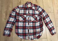 Abercrombie & Fitch Women's Shirt Red Check Long Sleeve Medium Cotton Viscose