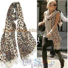 Graduated Leopard Animal Print Pashmina Soft Shawl Scarf Stole Brown Thick 175cm