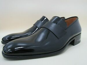 E.T. Wright Men's Black Patent Leather Loafers Size 12 Made in Spain