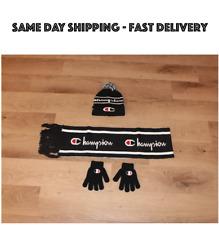 Champion kids beanie gloves scarf set Black Double Pom soft for boys girls NEW
