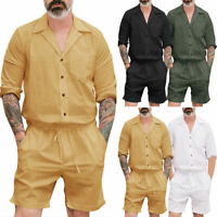 Men's Short One Piece Romper Sleeve Street Casual Cargo Pants Jumpsuit Overalls