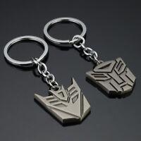 2pcs Autobot Decepticons TF Transformers Logo Sign Alloy Metal KeyRing Keychains