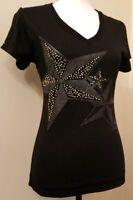 Yom Yom Juniors Womens Black Gray Stars Silver Gold Gems Shirt Top T-shirt Sz M