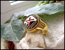 KNIGHTS TEMPLAR RING CROSS SILVER STEEL GOLD NECKLACE BADGE PIN MASONIC D49