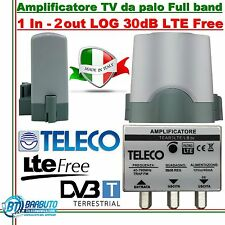AMPLIFICATORE TV DA PALO 1 IN/2 USCITE LOG LARGA BANDA 30dB TELECO TEAR3LBLTE 2U