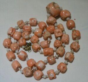 Art Deko 50er lange Kette Engelshaut Koralle peach rosa