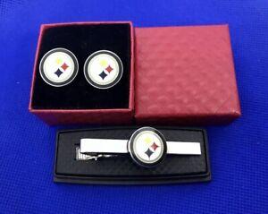 Pittsburgh Steelers Football Tie Bar & Pittsburgh Steelers Cufflinks Gift Set