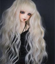 "6-7"" 1/6 BJD Long Curly Light Blonde Wig LUTS Doll SD DZ DOD MSD Blyethe Hair"