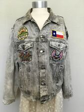 Acid Wash Denim Festival Jacket Harley Davidson Wolf Biker Flag Patches LARGE