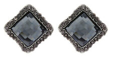 Clip On Earrings - silver plated with a square stone and crystals - Hera