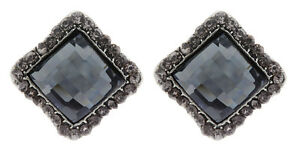Clip On Stud Earrings - antique silver with a square stone and crystals - Hera