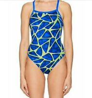 SPEEDO Race Endurance Plus One Piece Swimsuit Womens 8/34 Blue Green In Box