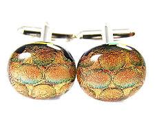 Cuff Links Dichroic Fused Glass Copper Orange Rust Bubbles Round Formal Wear Men