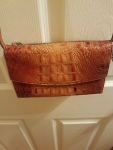 BRAHMIN Pecan Checkbook Wallet Leather Trifold Clutch Snap & Zipper Closure