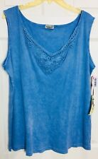 New ONE WORLD Plus 2X Baby Blue EMBROIDERED RIBBED KNIT SLEEVELESS TANK TOP