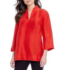 NWD Eileen Fisher 3/4-Sleeve High-Collar Doupioni Silk Blouse in Fire - Size S