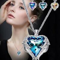 Herz des meeres geformt engelsflügel kristall anhänger halskette paar liebe gesc