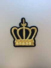 Gold Crown Patch - Embroidered/Iron/Sew/Stitch/Glue On - Badge Royal Fun Cartoon