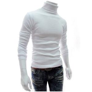 Mens Long Sleeve High Neck Knit Sweater Turtleneck Pullover Jumper Blouse Tops