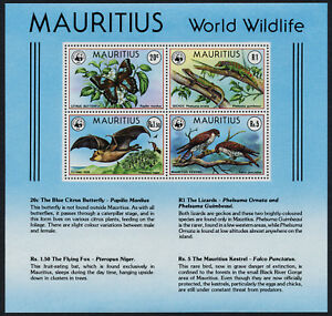 Mauritius 472 MNH WWF, Butterfly, Bat. Gekos, Kestrels, Birds