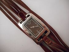 DISNEY PARKS Mickey Mouse Multi Strand Brown Leather Watch Buckle Clasp